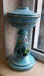 Керосиновая лампа Голубое стекло начало 20 века, фото №4