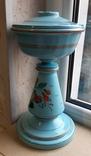 Керосиновая лампа Голубое стекло начало 20 века, фото №5