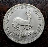 50 центов ЮАР Южная Африка 1961 состояние серебро, фото №5