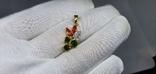 Серебряная подвеска с природными хромдиопсидами,оранжевыми сапфирами в пзолоте, фото №2
