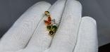 Серебряная подвеска с природными хромдиопсидами,оранжевыми сапфирами в пзолоте, фото №4