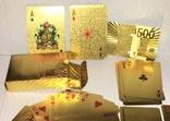 Позолоченные игральные карты (24K) 500 евро / сувенірні гральні карти, 54 шт, фото №5