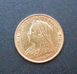 Золотая монета Полсоверена 1896 г. Королева Виктория, фото №2