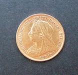 Золотая монета Полсоверена 1896 г. Королева Виктория, фото №3