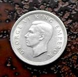 3 пенса Новая Зеландия 1944 состояние серебро, фото №2