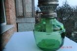 Старая стеклянная керосиновая лампа, фото №3