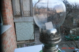 Старая стеклянная керосиновая лампа, фото №4