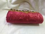 Винтажная бархатная сумочка с вышивкой и металлической ручкой, фото №8