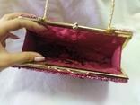 Винтажная бархатная сумочка с вышивкой и металлической ручкой, фото №11