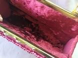 Винтажная бархатная сумочка с вышивкой и металлической ручкой, фото №12