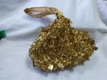 Шелковая сумочка или кошелечек, расшитая бисером, пайетками и бусинами. Без ручки 17х15см, фото №3