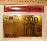 Позолоченная сувенирная банкнота 100 Euro в защитном файле, конверте / сувенір, фото №2