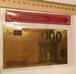 Позолоченная сувенирная банкнота 100 Euro в защитном файле, конверте / сувенір, фото №3