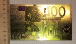 Позолоченная сувенирная банкнота 100 Euro в защитном файле, конверте / сувенір, фото №5