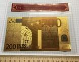 Позолоченная сувенирная банкнота 200 Euro в защитном файле, конверте / сувенір, фото №2