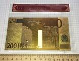 Позолоченная сувенирная банкнота 200 Euro в защитном файле, конверте / сувенір, фото №5