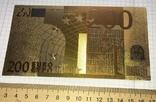 Позолоченная сувенирная банкнота 200 Euro в защитном файле, конверте / сувенір, фото №6
