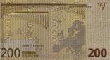 Позолоченная сувенирная банкнота 200 Euro в защитном файле, конверте / сувенір, фото №11