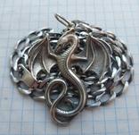 Серебряный кулон дракон на цепочке, фото №4
