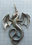 Серебряный кулон дракон на цепочке, фото №8