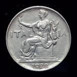 Италия 1 лира 1922, фото №2