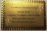 Сертификат подлинности (99.9%) 24 К золотая фольга / сувенір, сертифікат, фото №8
