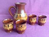 Глечик и чашки. Комплект. Керамика., фото №3
