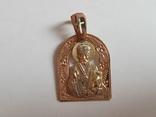Нательная иконка. Святой Николай. Золото 585 проба. Вес 4.2 г., фото №3