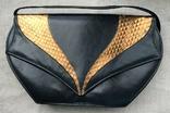 Винтажная кожаная сумка, клатч GINA London Темно синий и золотой цвета, фото №2