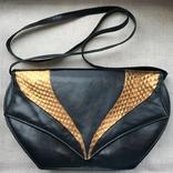 Винтажная кожаная сумка, клатч GINA London Темно синий и золотой цвета, фото №11