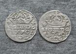 Коронные гроши 1600-х годов. Сиг. ІІІ Ваза ( 2 штуки )., фото №2