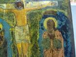 Икона Распятие с предстоящими дерево 27,5 х 23 см, толщина 2 см, фото №9