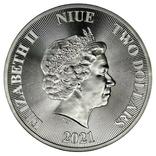 2 Доллара 2021 Дерево Жизни (Серебро 0.999, 31.1г) 1oz, Ниуэ Унция, фото №3