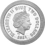 2 Доллара 2021 Афинская Сова (Серебро 0.999, 31.1г) 1oz, Ниуэ Унция, фото №3