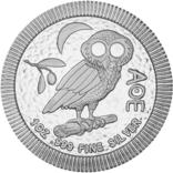 2 Доллара 2021 Афинская Сова (Серебро 0.999, 31.1г) 1oz, Ниуэ Унция, фото №2