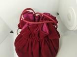 Бархатная сумочка на затяжке. Внутри тоже бархат. Высота 13см, диаметр 13см, фото №4
