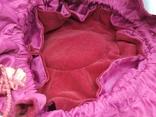 Бархатная сумочка на затяжке. Внутри тоже бархат. Высота 13см, диаметр 13см, фото №9