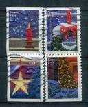 Марки гашеные США Новый год Рождество зима снег праздники, фото №2