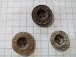Старинные пуговицы на четыре отверстия (с надписями), 3 шт., фото №2