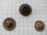 Старинные пуговицы на четыре отверстия (с надписями), 3 шт., фото №3