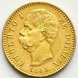 20 лир. 1885. Умберто I. Италия (золото 900, вес 6,44 г), фото №2