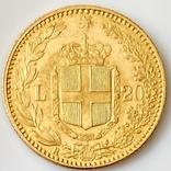 20 лир. 1885. Умберто I. Италия (золото 900, вес 6,44 г), фото №3