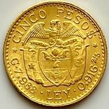 5 песо. 1929. Колумбия (золото 917, вес 7,97 г), фото №3