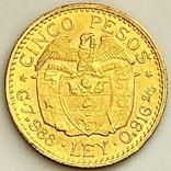5 песо. 1929. Колумбия (золото 917, вес 7,97 г), фото №5