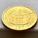 5 песо. 1929. Колумбия (золото 917, вес 7,97 г), фото №12