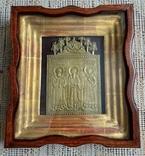 Икона Святители Григорий Богослов,Василий Великий и Иоанн Златоуст в киоте, фото №2