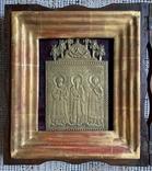 Икона Святители Григорий Богослов,Василий Великий и Иоанн Златоуст в киоте, фото №3