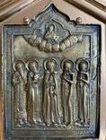 Икона Святых бронза в киоте домиком, фото №5