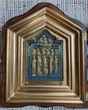 Икона Святых бронза в киоте 3 цвета эмали, фото №3