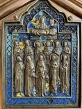 Икона Святых бронза в киоте 3 цвета эмали, фото №5
